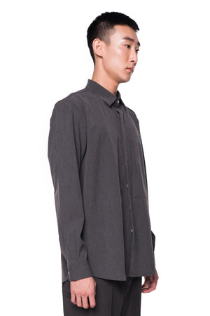 GREY LOOSE SHIRT WITH ZIPPED POCKET