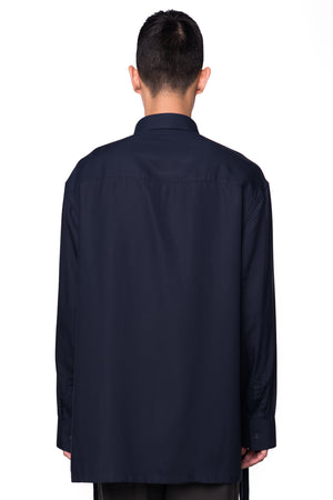 Navy Oversized Shirt with Zipper on Slits