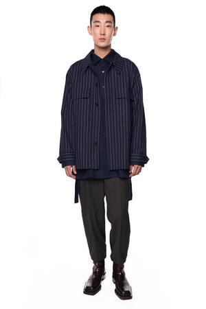 STRIPPED NAVY OVERSHIRT