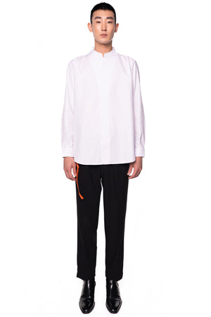 White Collarless pt.I Long Sleeves Shirt With Detail on Back