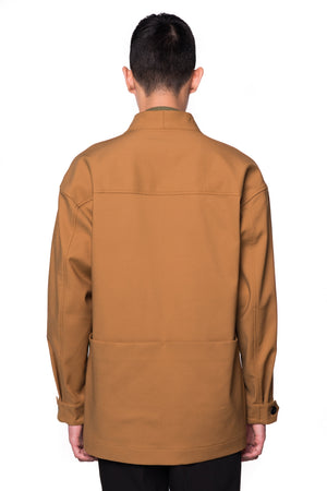 CAMEL COLLARLESS OVERSHIRT