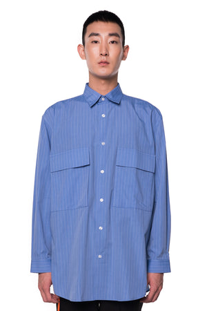 Light Blue Oversized Stripped Shirt