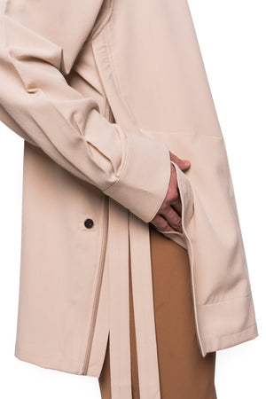 Beige Oversized Shirt with Zipper on Slits