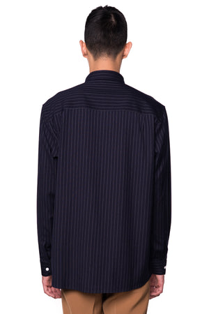 NAVY STRIPPED LOOSE SHIRT WITH ZIPPED POCKET