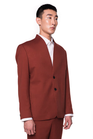 RED BRICK COLLARLESS BLAZER