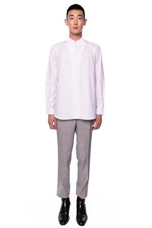 White Double Collarless pt.I Long Sleeves Shirt
