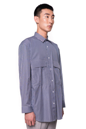 Navy Oversized Stripped Shirt