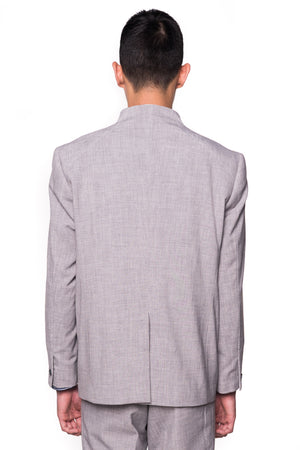 Light Grey Collarless Blazer