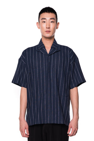 Camp-Collar Navy Stripped Shirt (PRE-ORDER)