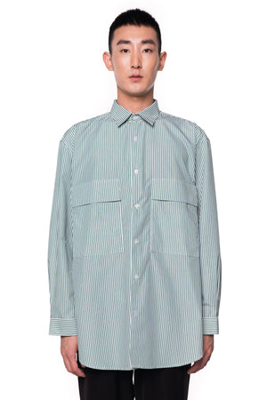 Green Oversized Stripped Shirt