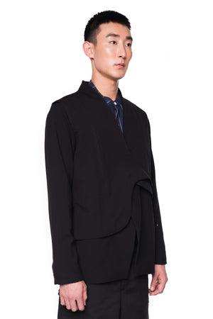 Black Layered Outer with Detachable Vest