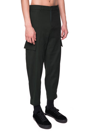 GREEN CARGO PANTS WITH LEG OPENING ADJUSTER