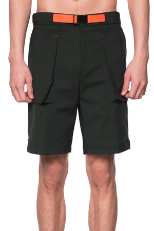 DARK GREEN SHORT PANTS WITH NEON BELT