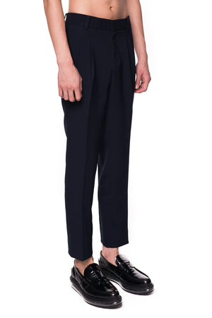 NAVY BASIC PANTS WITH WAISTBAND ADJUSTER