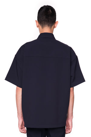 Camp-Collar Navy Shirt