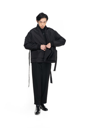 OVERSIZED BOMBER JACKET WITH DETACHABLE SLEEVES