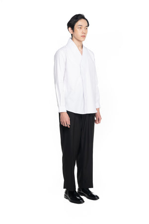 White Pleated Wrapped Shirt