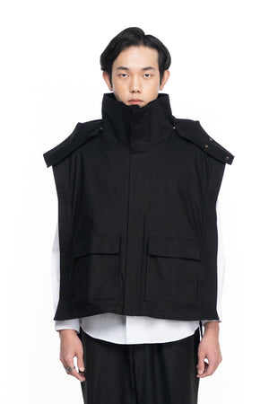 Black Vest With Detachable Hoodie