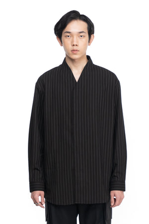 BLACK STRIPPED OVERSIZED COLLARLESS SHIRT PART 4