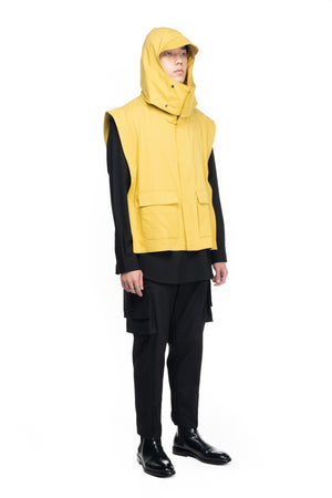 Yellow Vest With Detachable Hoodie
