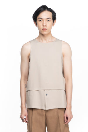 Cream Layered Sleeveless Shirt