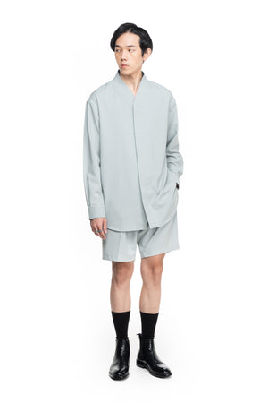 GREEN MINTY COLLARLESS  PART 5 OVERSIZED SHIRT