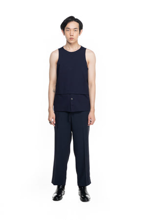 Navy Blue Layered Sleeveless Shirt
