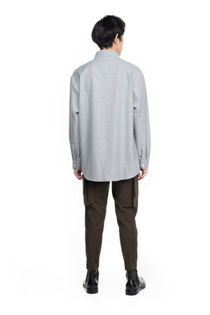 LIGHT GREY COLLARLESS PART 5 OVERSIZED SHIRT