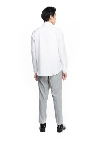 White Collarless Part 1 Long Sleeves Shirt