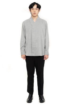 Light Grey Wrapped Long Sleeves Shirt
