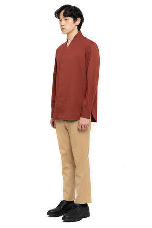 Red Brick Wrapped Long Sleeves Shirt