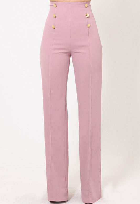 ClassicQ Timeless High-Waist Button Pants-Mauve