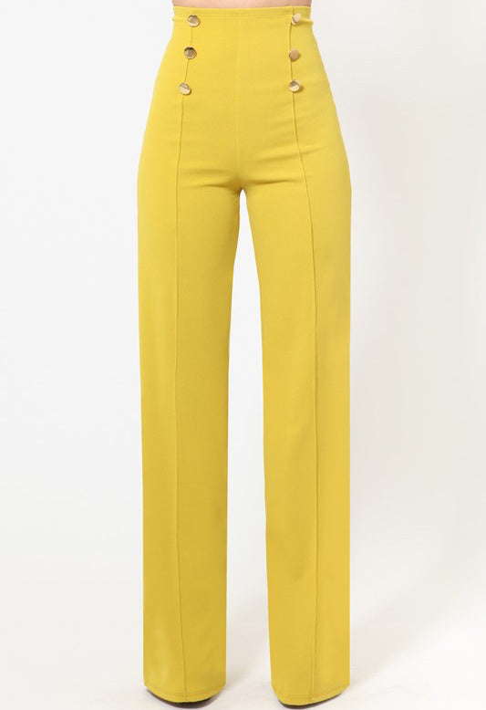 ClassicQ Timeless High-Waist Button Pants-Mustard