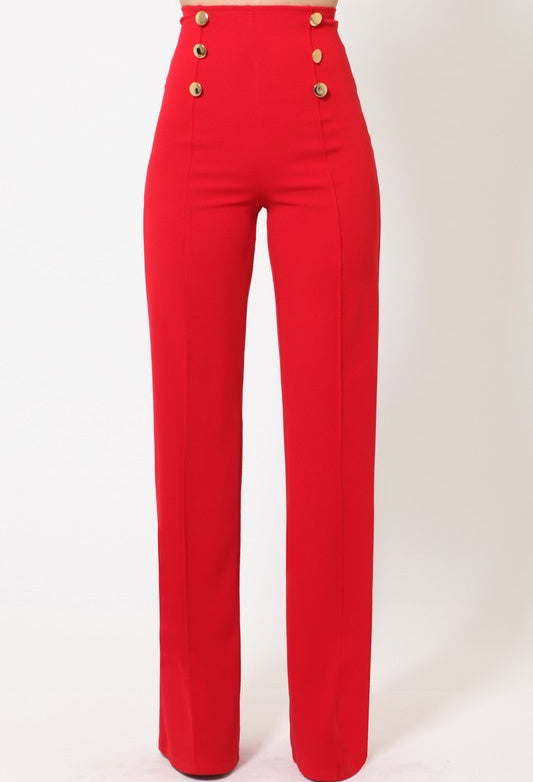 ClassicQ Timeless High-Waist Button Pants-Red