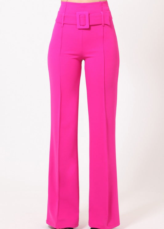 ClassicQ Timeless High-Waist Buckle Pants-Fuschia