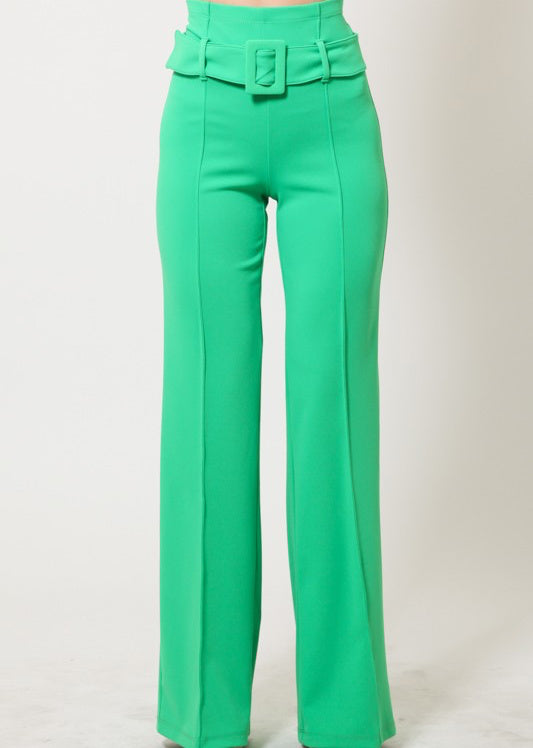 ClassicQ Timeless High-Waist Buckle Pants-Green