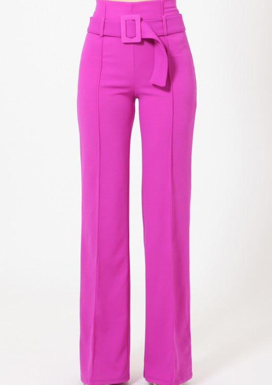 ClassicQ Timeless High-Waist Buckle Pants-Purple