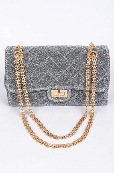Sparkle Glam Clutch SLVR