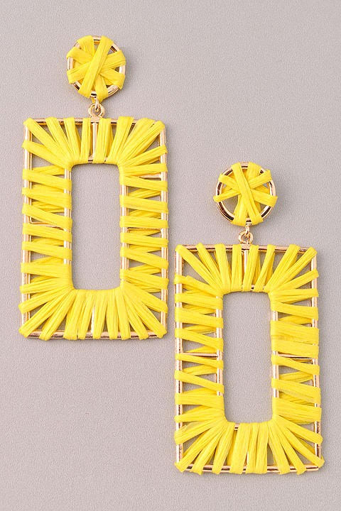 GlamQ Grace Earrings-Yellow