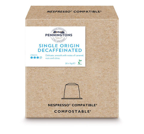 Compostable Nespresso Compatible Decaffeinated Coffee Capsules - Box of 20