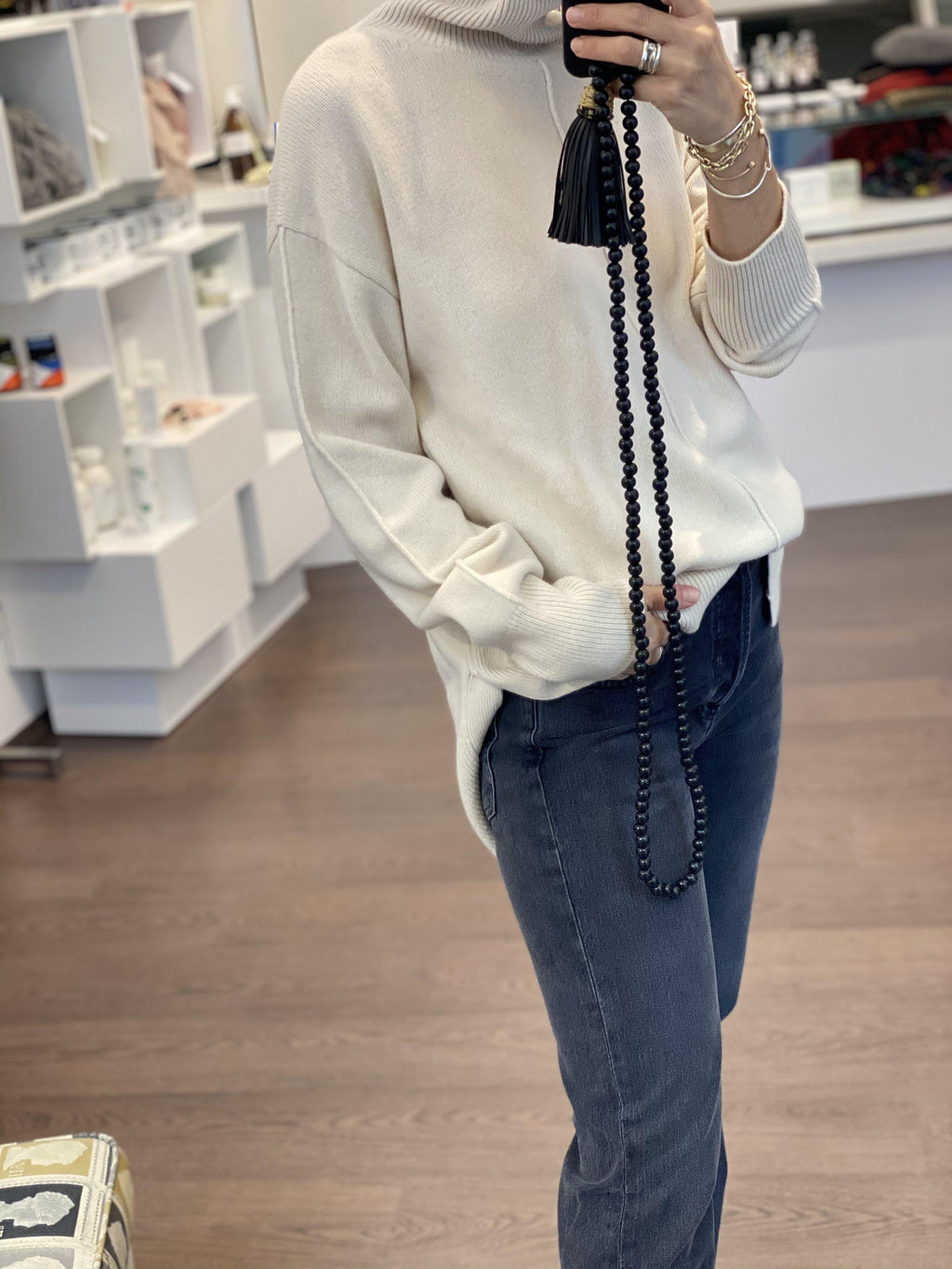 High Neck Sweater in Ivory