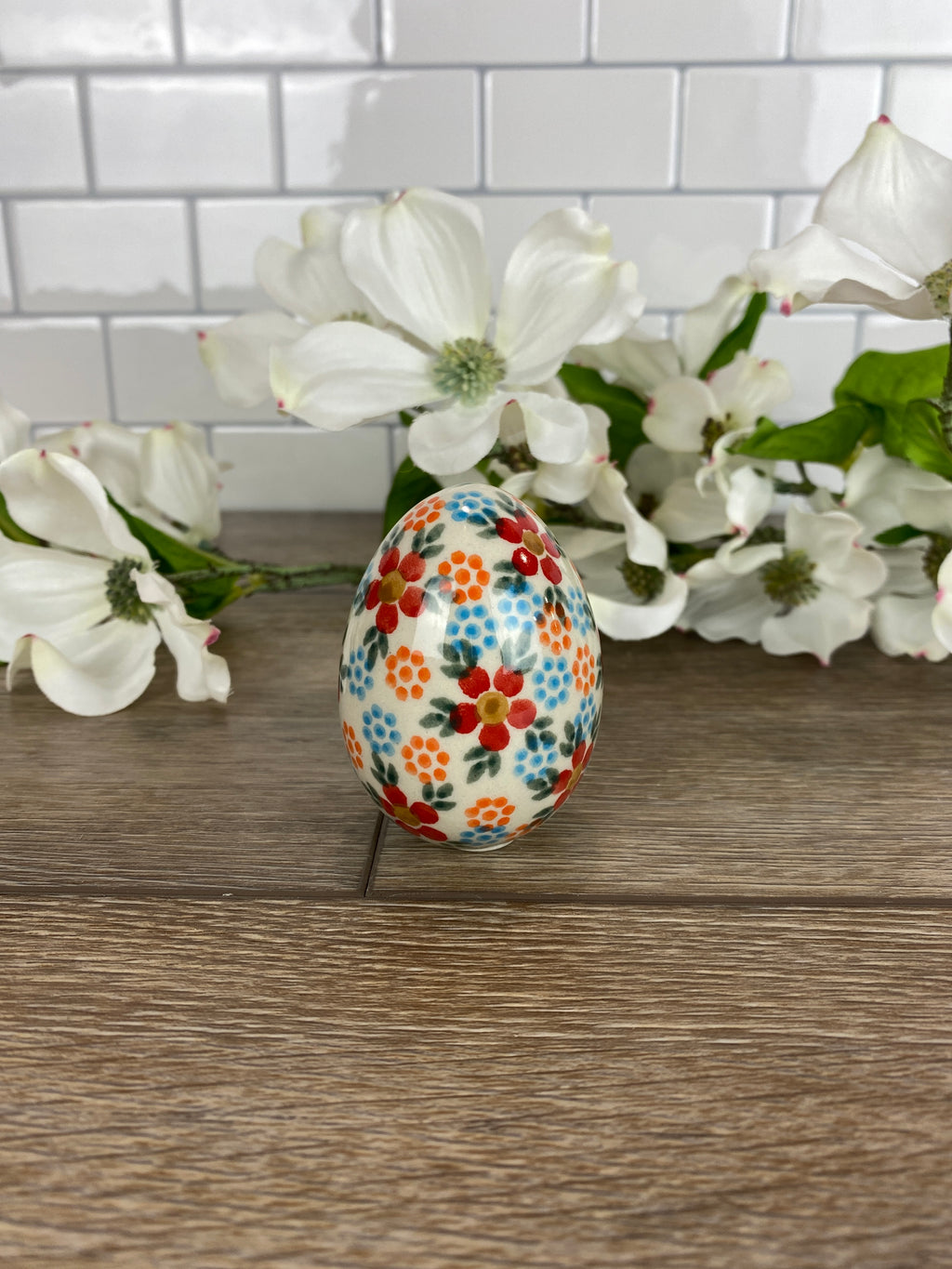 ANDY Large Ceramic Easter Egg - Red Floral