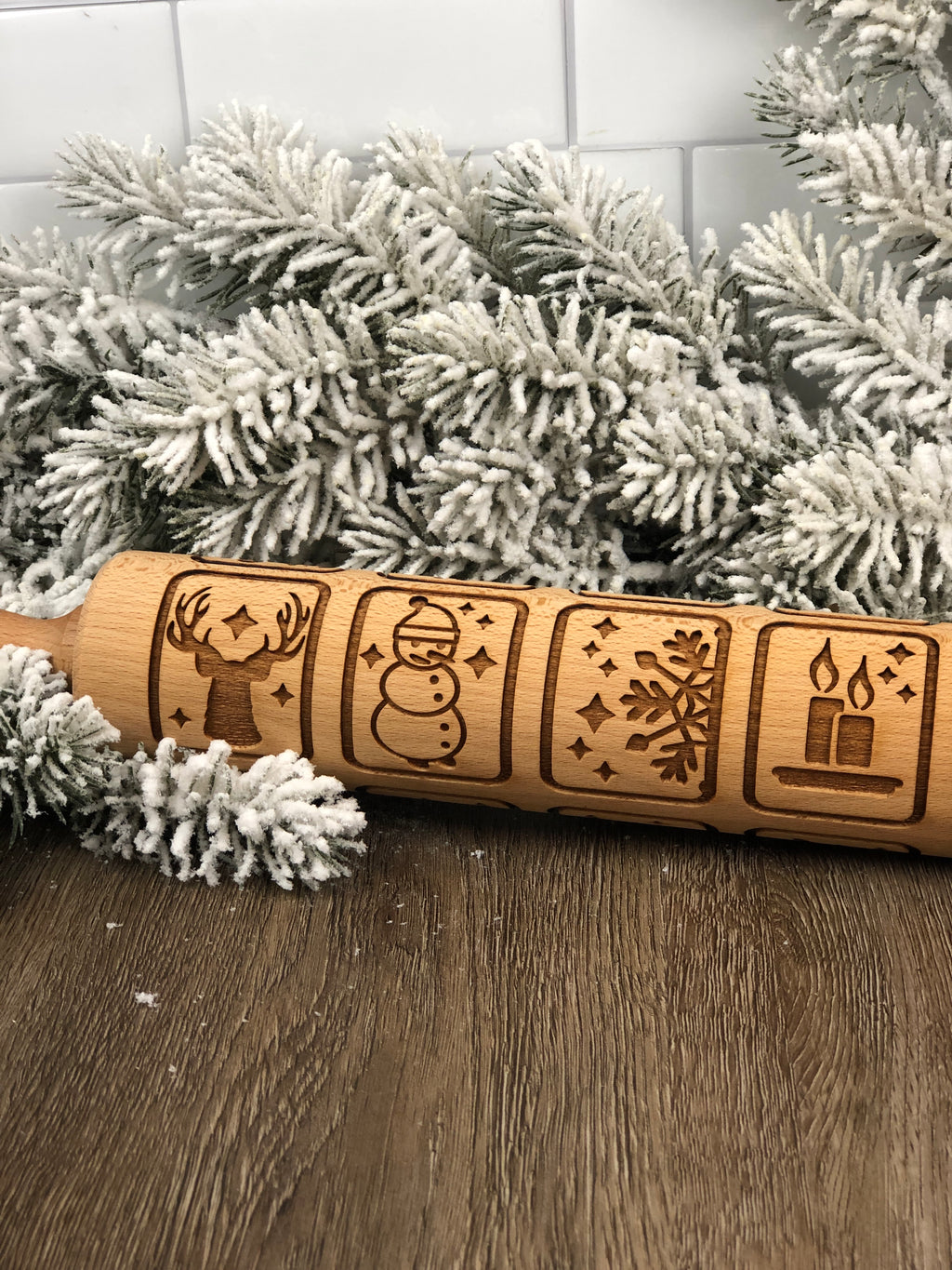 Large Wooden Rolling Pin - Christmas Squares