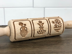 Small Wooden Rolling Pin - Folk Squares