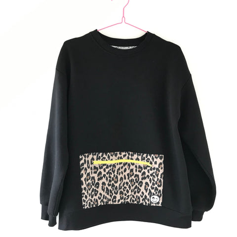 Adult pocket sweatshirt - black/leopard