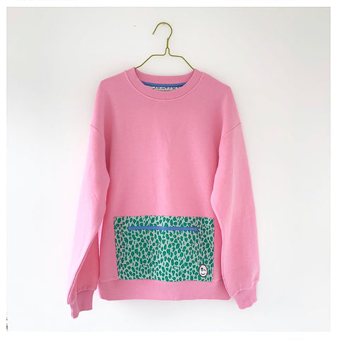Adult pocket sweatshirt - pink/green leopard