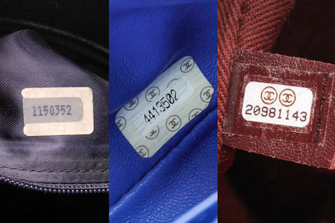 99525595f0be Serial number stickers can be affixed directly to the interior linings or  onto leather tags that are sewn into inside seams. Chanel items also come  with ...