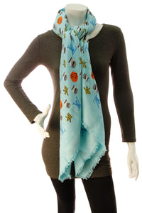 Louis Vuitton x Jonas Wood Monogram Shawl Scarf - Blue
