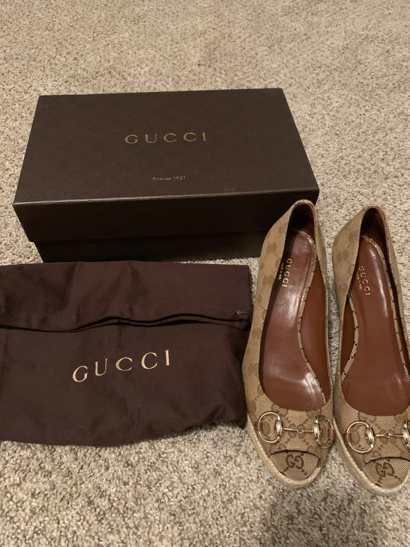 Gucci Horsebit Signature Wedges