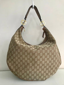 gucci canvas twins hobo